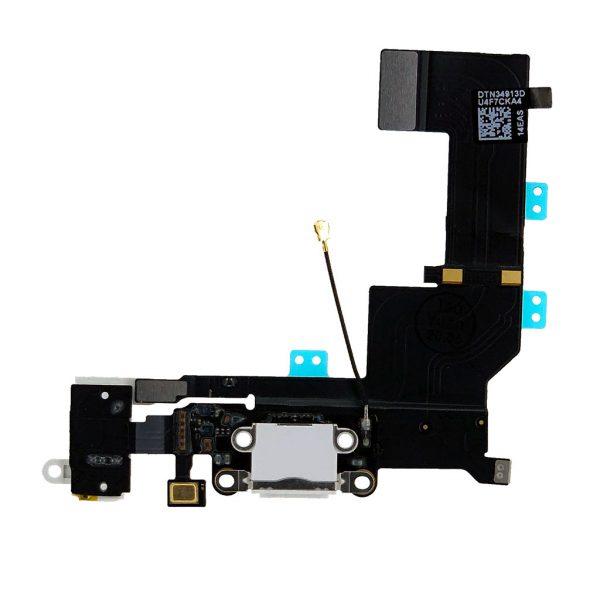 Порт зарядки и синхронизации со шлейфом и аудио разъем iPhone 5S | Оригинал | Белый