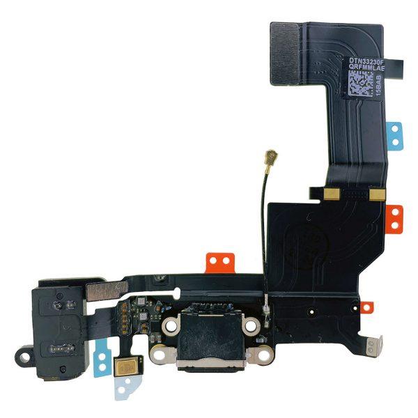 Оригинальный Шлейф iPhone 5S с разъемом зарядки, микрафоном и коннектором наушников Черный