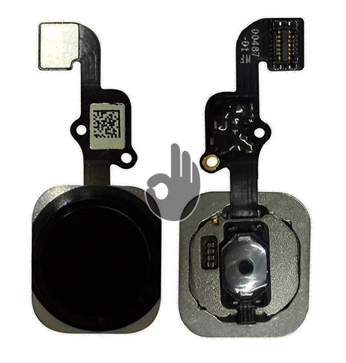 """Оригинальная кнопка """"Home"""" (кнопка меню/назад) iPhone 6S черная со шлейфом"""