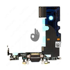Оригинальный шлейф iPhone 8 черный разъема зарядки, синхронизации и нижних микрофонов