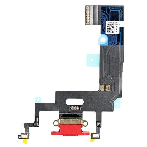 Нижний шлейф (разъем зарядки и синхронизации, микрофоны) iPhone XR (Красный, Red)
